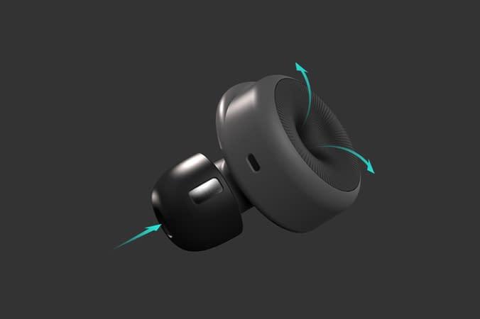 schwarzer ohrstöpsel in-ear pulsoximeter produktdesign