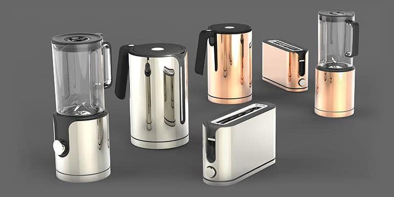 viele verschiedene produkte mit einheitlichem design aus einer produktfamilie