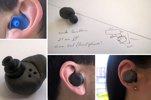 prototypen in-ear puls oximeter im ohr