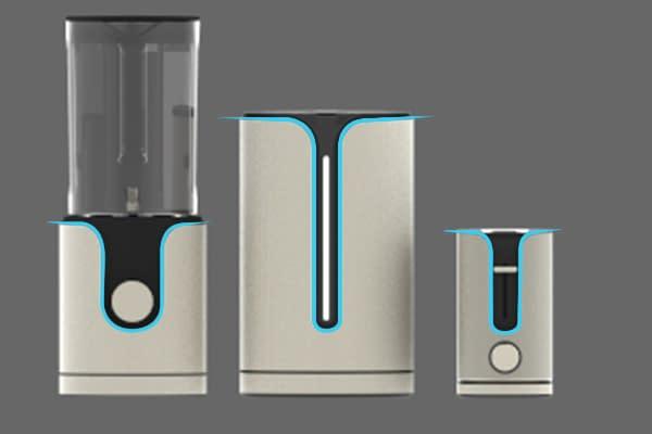 drei hochwertige küchengeräte mit einheitlichem corporate design
