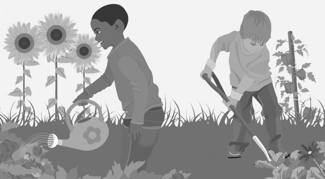 kinder bewässern pflanzen im garten als anwendungsfall der neuen innovativen wetterstation
